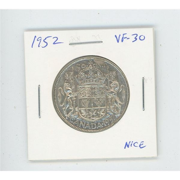 1952 Silver 50 Cents. The last issue of George VI. VF-30. Nice.