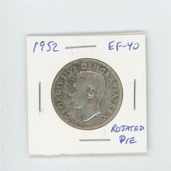1952 Silver 50 Cents with Rotated Die. EF-40. Nice.