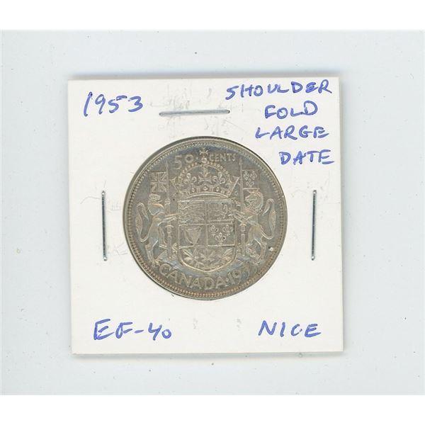 1953 Large Date Shoulder Fold Silver 50 Cents. EF-40. Nice.