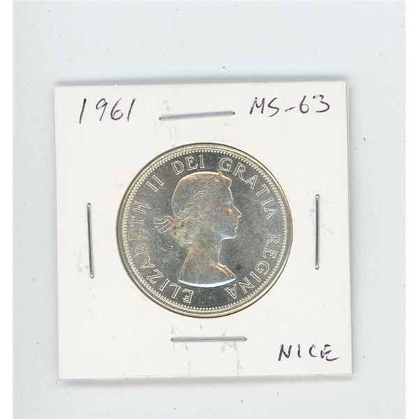 1961 Silver 50 Cents. MS-63. Nice.