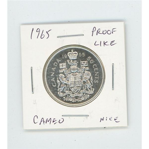 1965 Silver 50 Cents. Proof Like with Cameo. Bright White. Nice.