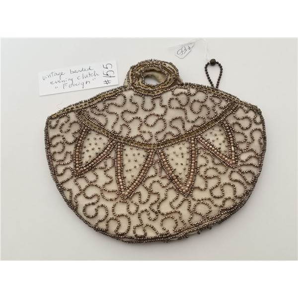 """Cream coloured beaded evening bag, marked """"Foreign"""""""