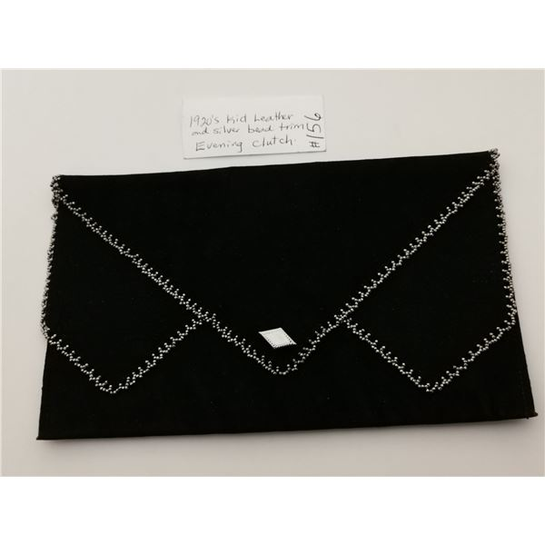 Black kid leather evening clutch with steel bead trim, 1920's
