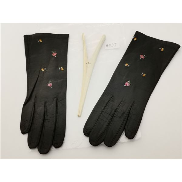 Brown kid leather embroidered gloves, made in France, and bone glove stretcher