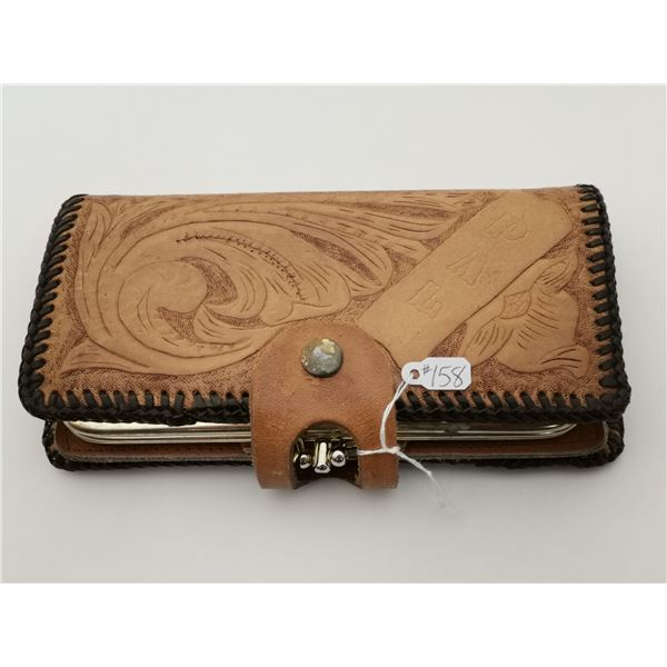 """Hand tooled leather clutch, 7 ½"""" x 4"""""""