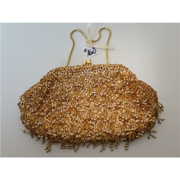 """Gold bead and sequin evening bag, tag reads """"made in the British Crown colony of Hong Kong"""""""