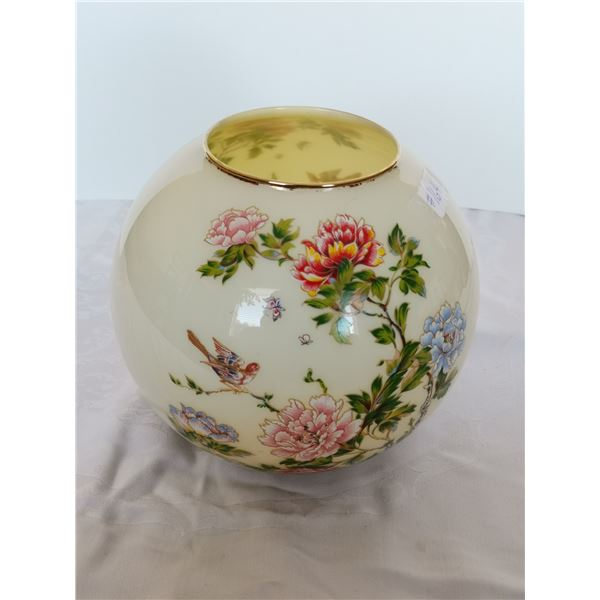 """Glass cased Chimney bowl with peony décor, 7"""" high"""
