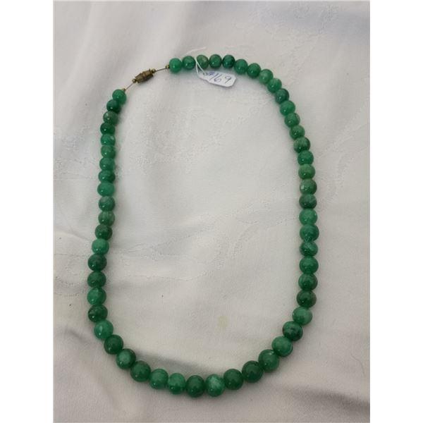 "Nephrite jade-coloured bead necklace, 18"""