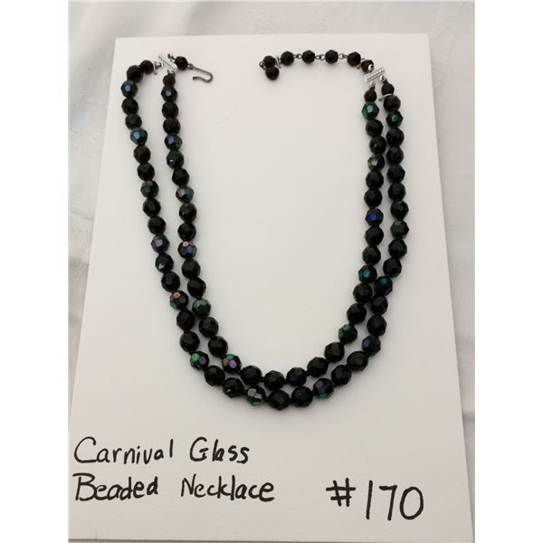 Vintage Carnival glass beaded bib necklace