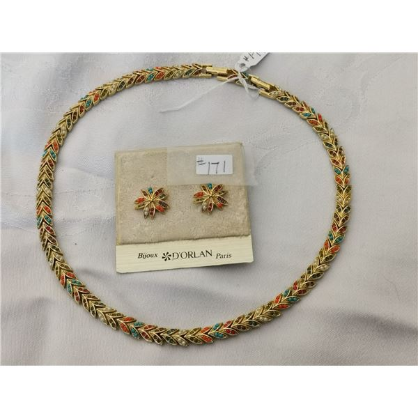 Dorlan necklace and pierced earring set, Bijoux, France