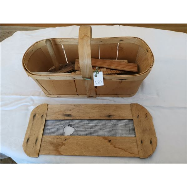 Wood grape basket with wood trim pieces