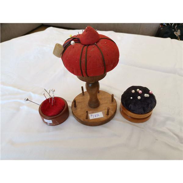 Wood pincushions (3)