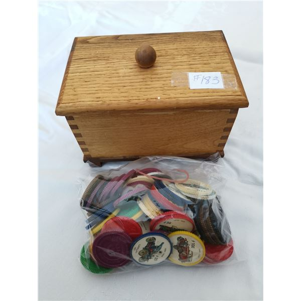 Handcrafted wood box with 65 assorted Jello wheels