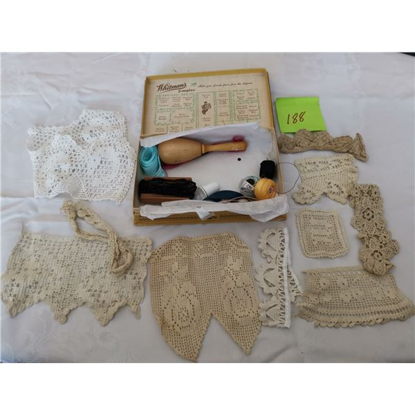 Whitman's chocolate box with vintage trims and sewing items