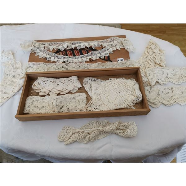 Wood box with hand crocheted lace