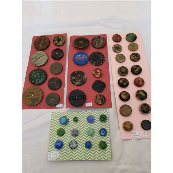 Lot of buttons on cards (3)