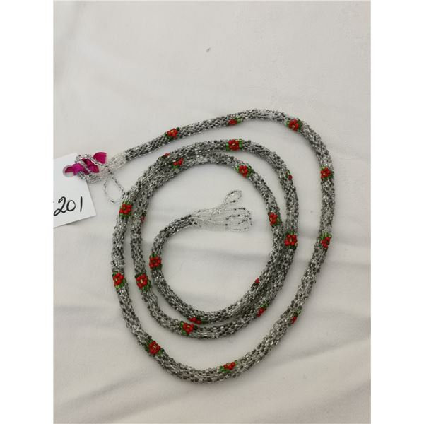 """Silver with roses beaded flapper necklace, 42"""", 1920's"""