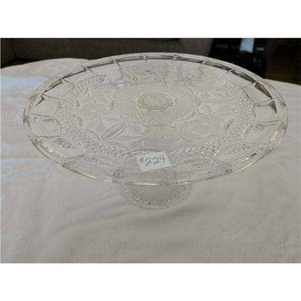 """Cake stand, 12"""" floral with diamond swag"""