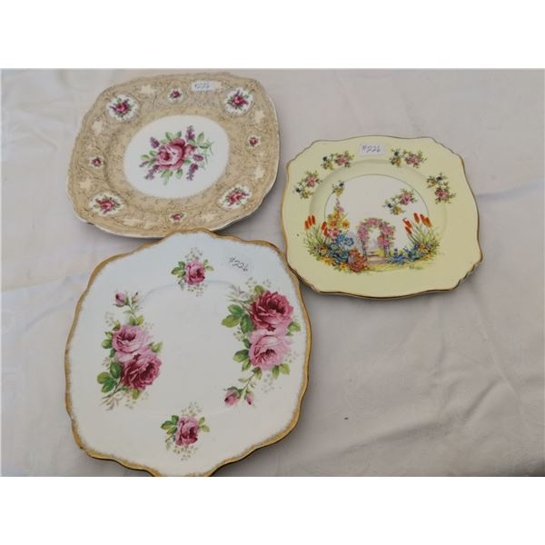 Lot of cake or dainty plates, made in England (3)