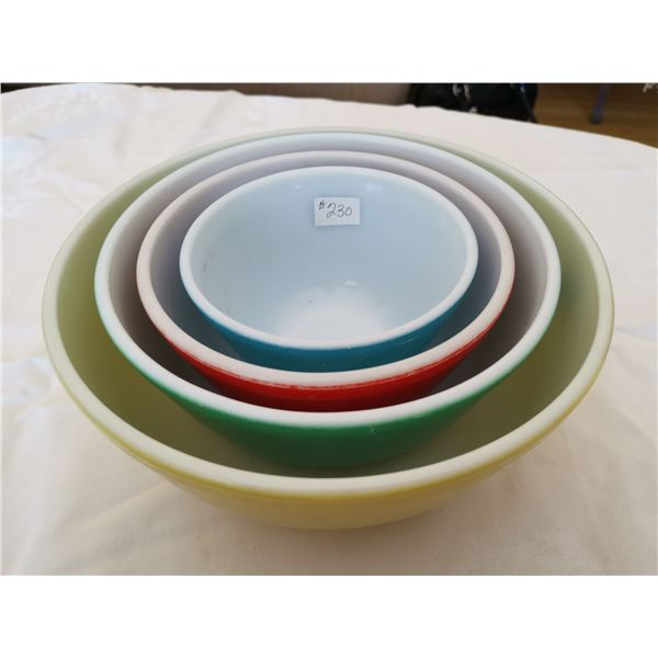 Pyrex primary set of bowls, yellow, green, red and blue
