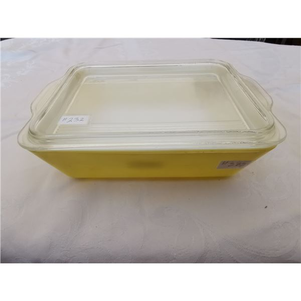Yellow Pyrex refrigerator dish