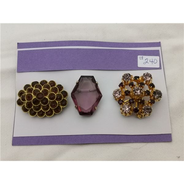 """Card of 3 """"purple"""" broaches"""