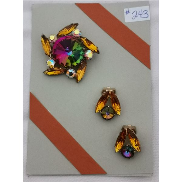 Card with rhinestone broach and clip earrings