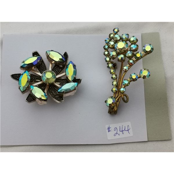 Card of 2 aurora borealis rhinestone broaches