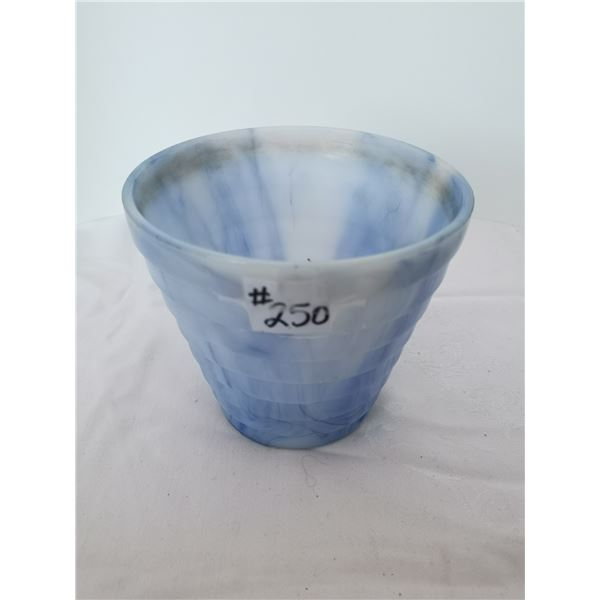 """Acro agate blue and white planter, 7"""" high"""