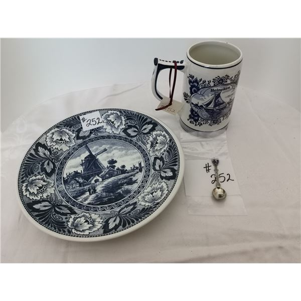 Delft mug, serving plate and souvenir spoon, made in Holland