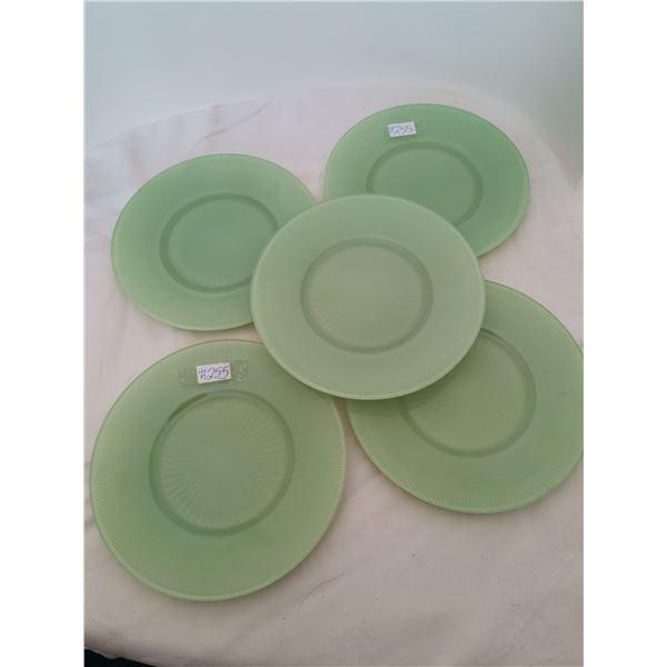 "Green Saguenay luncheon plates, 8 "", Dominion Glass, 1940-45 (4 plates)"