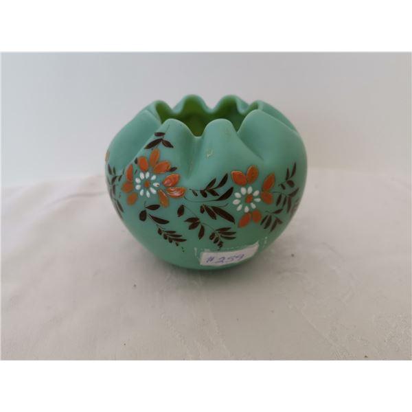 Crimped blue satin glass rose bowl with enamel trim