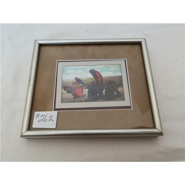 "Allen Sapp framed print, ""Feasting at Little Pine"""