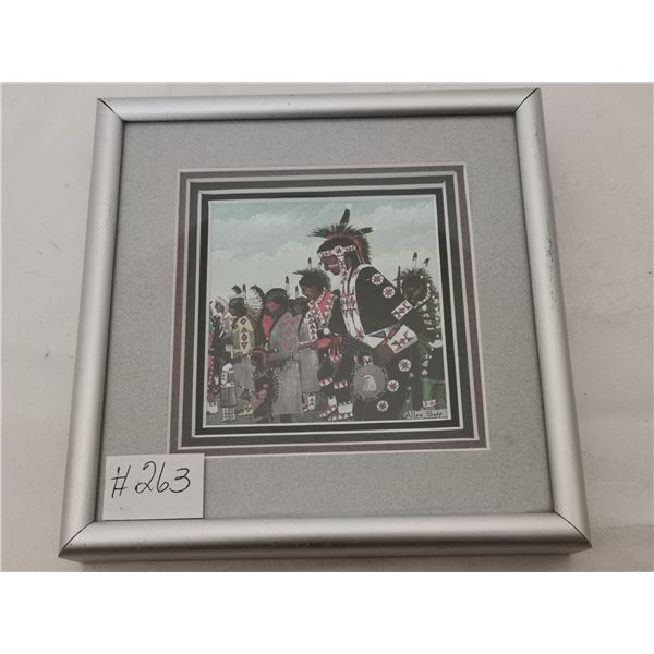 "Allen Sapp framed print, ""Powow"""