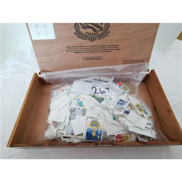 Lot of stamps in a cigar box
