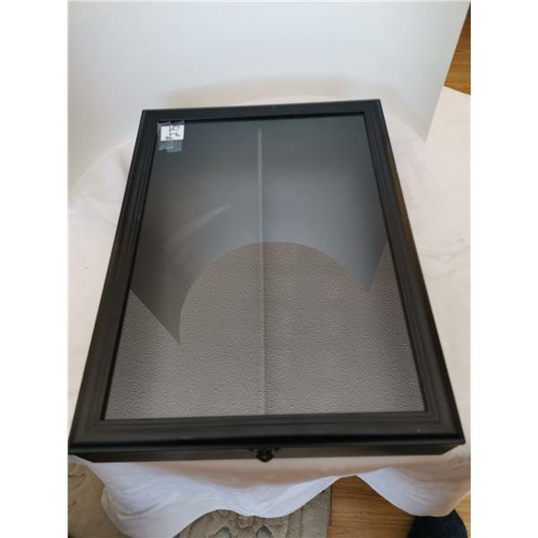 """Display case, black with glass, one shelf 12""""x18"""""""