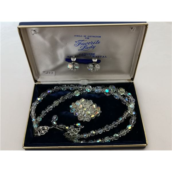 """""""Favorite Lady"""" Austrian crystal necklace, broach, clip earring set in box"""