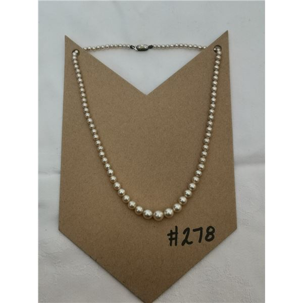 """Faux pearl necklace with sterling clasp, 15"""""""