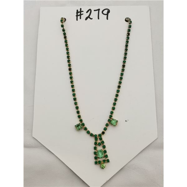 Green rhinestone necklace