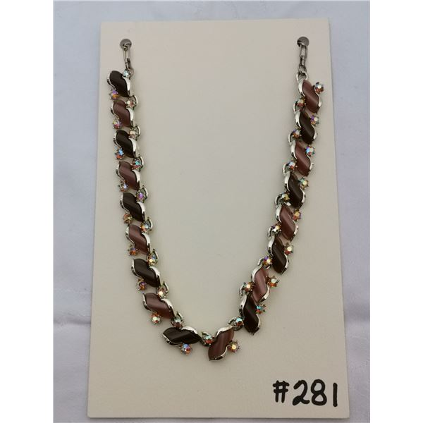 Vintage brown thermoset and rhinestone necklace