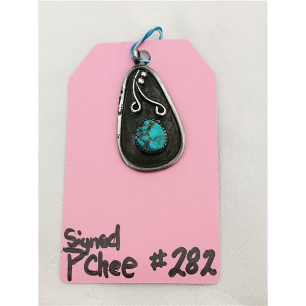 """Navaho sterling and turquoise pendant signed """"PChee"""""""