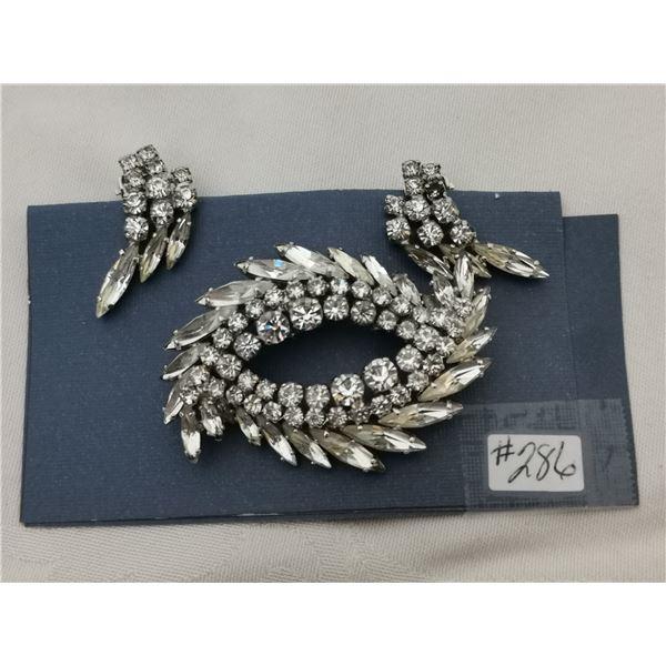 Sherman rhinestone broach and clip earring set