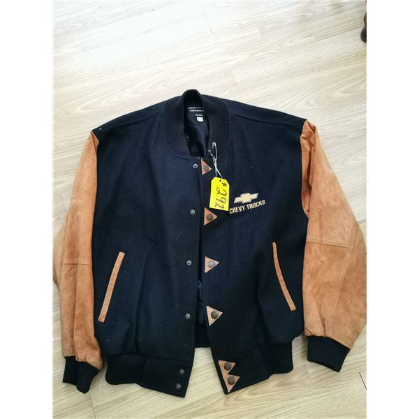 Chev Truck wool and leather jacket, XL