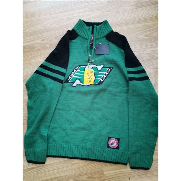 Vintage Saskatchewan Rough Rider sweater, tags attached