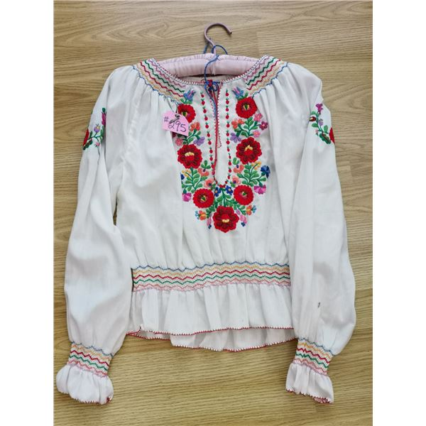 Hungarian embroidered and smocked blouse, hand worked, small