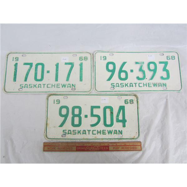 Lot of 3 Saskatchewan 1968 License Plates