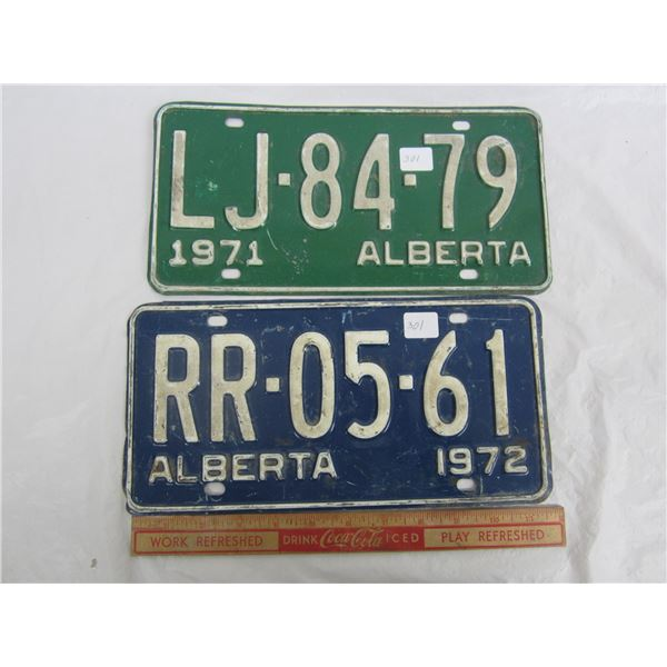 Lot of 2 Alberta License Plates 1971 and 1972