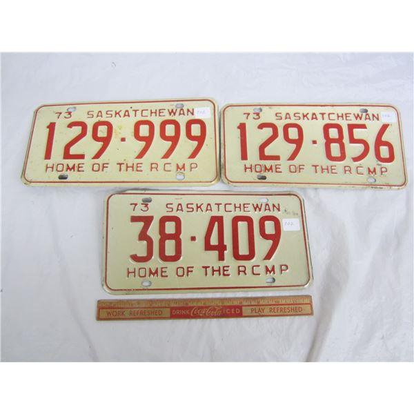 Lot of 3 Saskatchewan License Plates 1973