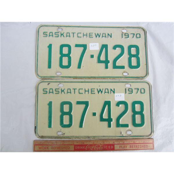 Pair of Saskatchewan License Plates 1970