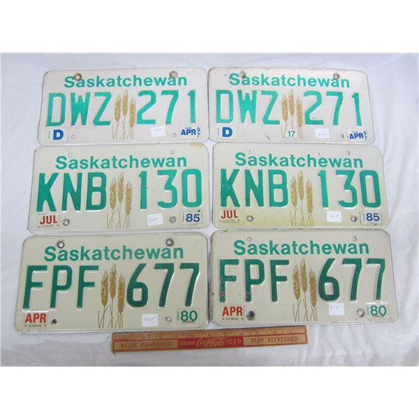 Lot of 3 Pairs of Saskatchewan License Plates 1980's -1990's